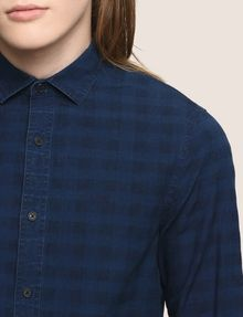 ARMANI EXCHANGE SLIM-FIT OVERDYED GINGHAM SHIRT Long sleeve shirt [*** pickupInStoreShippingNotGuaranteed_info ***] b