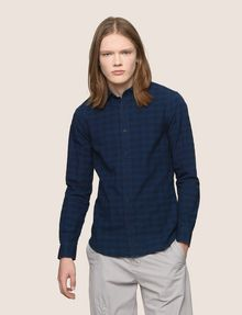 ARMANI EXCHANGE SLIM-FIT OVERDYED GINGHAM SHIRT Long sleeve shirt Man f