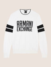 ARMANI EXCHANGE CREWNECK INTARSIA VARSITY SWEATER Crew Neck Man r