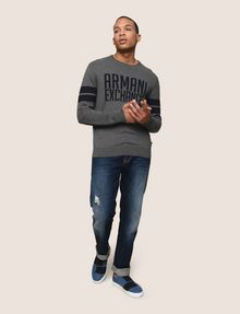 ARMANI EXCHANGE CREWNECK INTARSIA VARSITY SWEATER Crew Neck Man d
