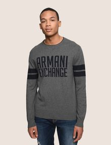 ARMANI EXCHANGE CREWNECK INTARSIA VARSITY SWEATER Crew Neck Man f