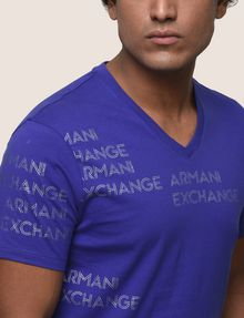 ARMANI EXCHANGE ALLOVER METALLIC LOGO V-NECK Logo T-shirt Man b