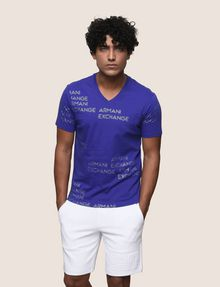 ARMANI EXCHANGE ALLOVER METALLIC LOGO V-NECK Logo T-shirt Man f
