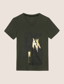 ARMANI EXCHANGE FOIL OVERLAY V-NECK TEE Logo T-shirt Man r