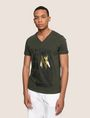 ARMANI EXCHANGE FOIL OVERLAY V-NECK TEE Logo T-shirt Man f