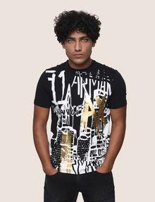 ARMANI EXCHANGE GRAFFITI CITYSCAPE FOIL TEE Logo T-shirt Man f