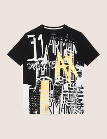 ARMANI EXCHANGE GRAFFITI CITYSCAPE FOIL TEE Logo T-shirt Man r