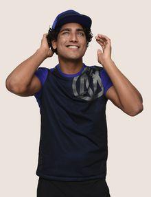 ARMANI EXCHANGE MESH OVERLAY LOGO TEE Logo T-shirt Man a