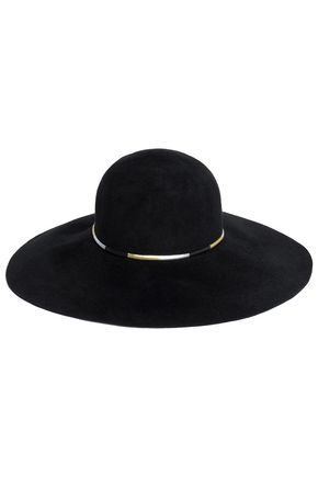 EUGENIA KIM Honey metallic faux leather-trimmed rabbit-felt hat