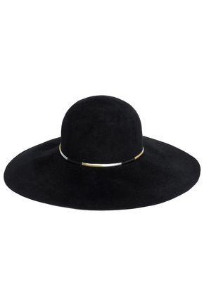 EUGENIA KIM メタリックフェイクレザートリム ラビットフェルト 帽子