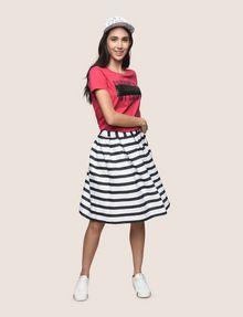 ARMANI EXCHANGE SWEATER-STRIPE JACQUARD SKIRT Midi Skirt Woman d