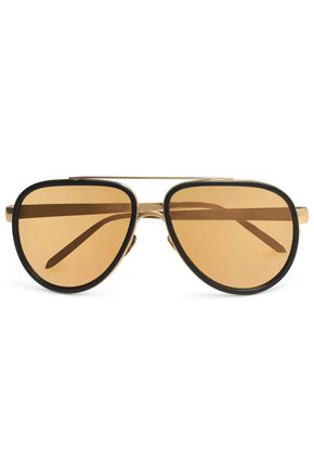 LINDA FARROW Aviator-style acetate and gold-tone sunglasses