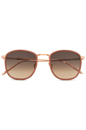 LINDA FARROW Acetate and gold-tone gradient square-frame sunglasses