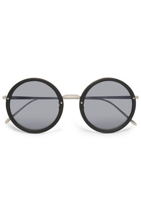 LINDA FARROW Acetate and silver-tone tinted round-frame sunglasses