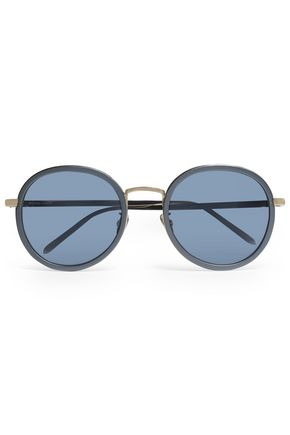 LINDA FARROW Round-frame acetate and gold-tone sunglasses