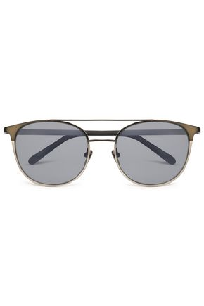 LINDA FARROW D-frame acetate and silver-tone sunglasses
