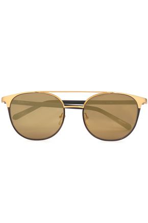 LINDA FARROW D-frame acetate and gold-tone sunglasses