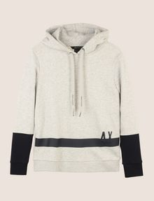 ARMANI EXCHANGE PUFF LOGO BICOLOR HOODIE Fleece Top Woman r