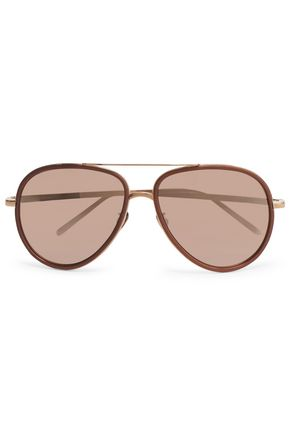 LINDA FARROW Aviator-style acetate and rose-gold mirrored sunglasses