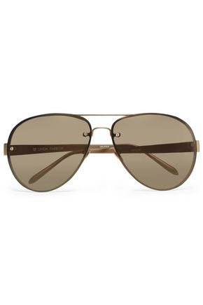LINDA FARROW Aviator-style gold-tone and acetate sunglasses