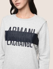 ARMANI EXCHANGE PUFF LOGO SWEATSHIRT TOP Fleece Top Woman b