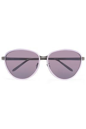 LINDA FARROW Round-frame silver-tone and acetate sunglasses