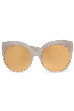 LINDA FARROW Cutout gold-tone and acetate mirrored sunglasses