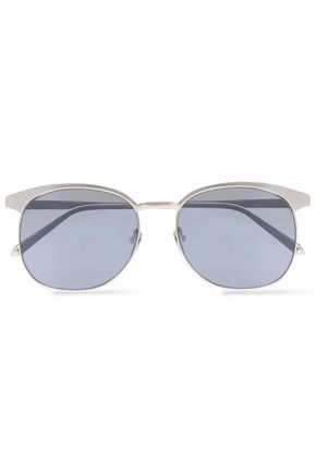 LINDA FARROW Round-frame acetate and silver-tone sunglasses
