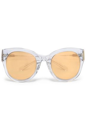 LINDA FARROW Cat-eye silver-tone and acetate mirrored sunglasses