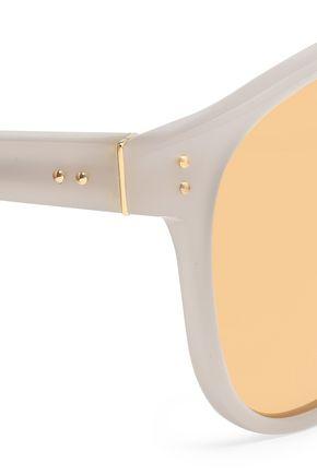 LINDA FARROW D-frame acetate and gold-tone mirrored sunglasses