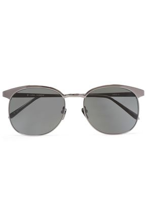 LINDA FARROW D-frame acetate and gunmetal-tone sunglasses