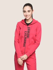ARMANI EXCHANGE SPLIT LOGO HOODIE Fleece Top Woman f