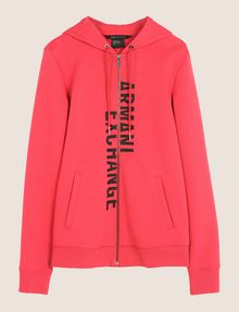 ARMANI EXCHANGE SPLIT LOGO HOODIE Fleece Top Woman r