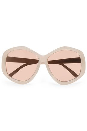 LINDA FARROW Round-frame acetate mirrored sunglasses