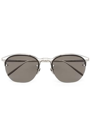 LINDA FARROW Acetate and silver-tone tinted square-frame sunglasses