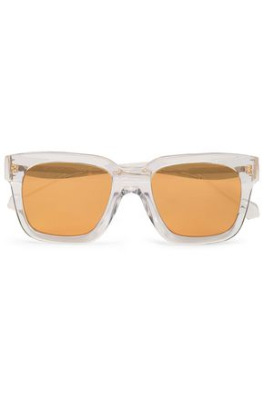 LINDA FARROW Square-frame acetate mirrored sunglasses