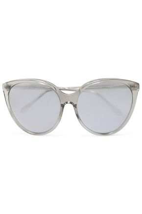 WOMAN CAT-EYE ACETATE SUNGLASSES SILVER