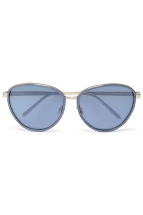 LINDA FARROW Oval-frame acetate and gold-tone sunglasses
