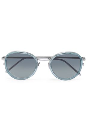 a2e0b7e9b65 LINDA FARROW Round-frame acetate and silver-tone sunglasses