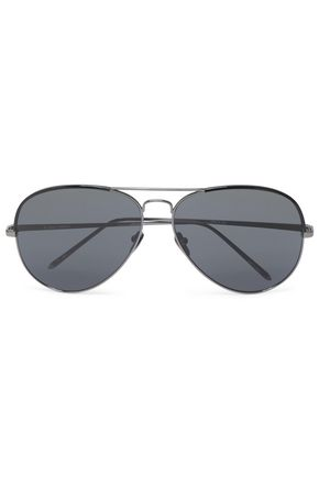 WOMAN AVIATOR-STYLE ACETATE AND GUNMETAL-TONE SUNGLASSES BLACK
