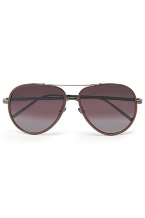 LINDA FARROW Aviator-style acetate and gunmetal-tone sunglasses