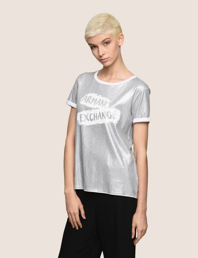 ALLOVER SEQUIN PAINTED LOGO TEE