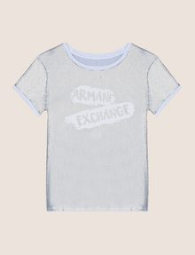 ARMANI EXCHANGE ALLOVER SEQUIN PAINTED LOGO TEE Logo T-shirt Woman r
