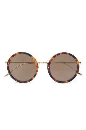 LINDA FARROW Round-frame tortoiseshell acetate and gold-tone sunglasses