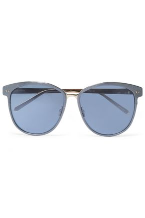 LINDA FARROW Round-frame gold-tone and acetate sunglasses