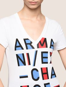 ARMANI EXCHANGE BLOCK LETTER V-NECK TEE Logo T-shirt Woman b