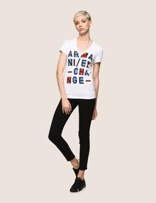 ARMANI EXCHANGE BLOCK LETTER V-NECK TEE Logo T-shirt Woman d