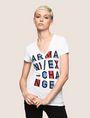 ARMANI EXCHANGE BLOCK LETTER V-NECK TEE Logo T-shirt Woman f
