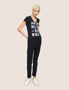 ARMANI EXCHANGE BLOCK LETTER V-NECK TEE Logo T-shirt Woman d