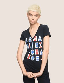 ARMANI EXCHANGE BLOCK LETTER V-NECK TEE Logo T-shirt Woman f
